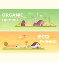 Organic farming - set of modern flat design style vector