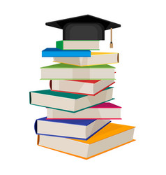 Pile of books with square academic hat on top vector