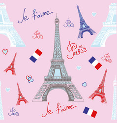 Seamless pattern with eiffel tower vector