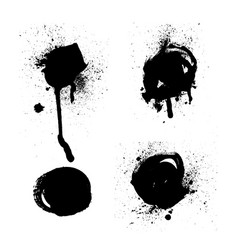 set of black and white ink splash blots vector image
