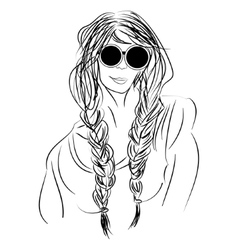 Sketch hippie girl with glasses and pigtails vector image vector image