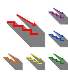 Stair down with arrow set of red orange yellow vector
