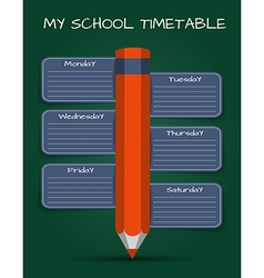 Template daily school timetable vector image