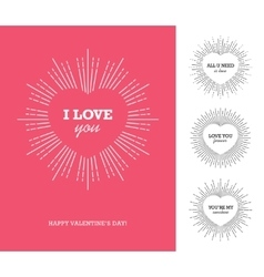 Valentines day card with heart frame and sunburst vector