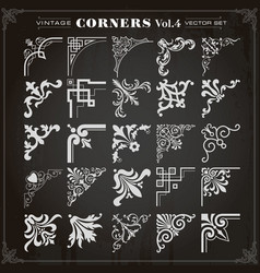 Vintage design elements corners and borders set 4 vector