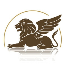 Winged lion emblem vector