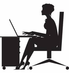 woman working at desk vector image vector image