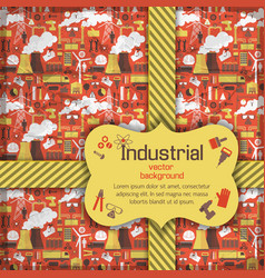 Yellow placard on industrial background vector