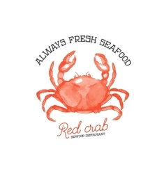 Fresh seafood red crab seafood restaurant hand vector