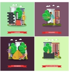 Set of construction concept posters vector