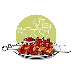 Kebab with tomatoes vector