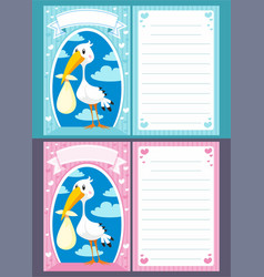 Baby shower greeting invitation cards vector