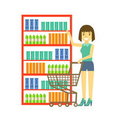 Woman shopping at supermarket with cart shopping vector