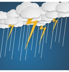Lightning with rain in clouds cartoon style vector
