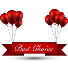 Best choice red ribbon background with balloons vector