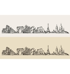 Paris france vintage engraved sketch vector