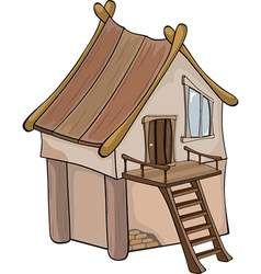 Funny little house cartoon vector