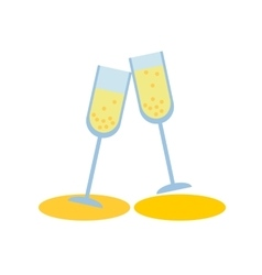 Two champagne glass on white background flat vector