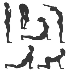 Woman in yoga poses asanas set black isolated on vector