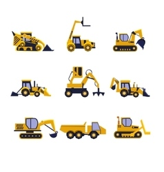 Construction Equipment Road Roller Excavator vector image