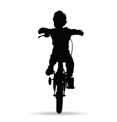 Boy drive bike vector