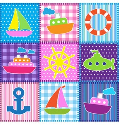 Patchwork in marine style vector