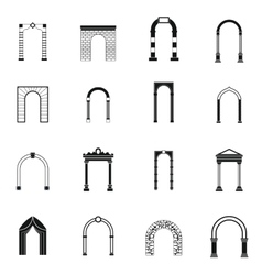 Arch set icons simple style vector