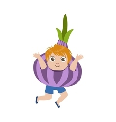 Boy dressed as onion vector