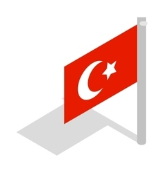 Flag of turkey icon isometric 3d style vector