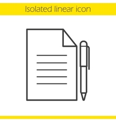 Contract with pen icon vector
