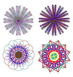 Abstract flowers of various shapes and neon vector image vector image