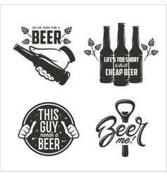 Beer relaterd quotes set Beer advertising design vector image