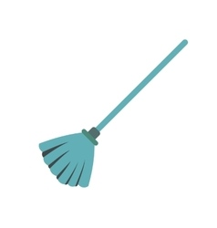 Blue broom flat vector