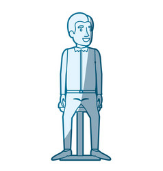 Blue color silhouette shading of man in casual vector