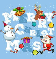 Christmas theme with santa and snowman vector