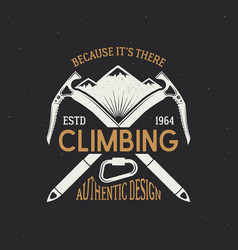 climbing club emblem design vintage colors logo vector image