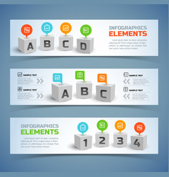 Cubes infographic horizontal banners vector