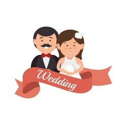 Cute couple wedding card design graphic vector