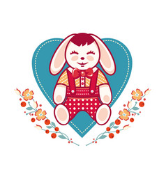 cute rabbit greeting card vector image