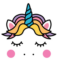 Cute sleeping unicorn head colorful rainbow vector