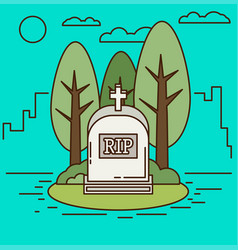Grey gravestone flat tombstone icon vector