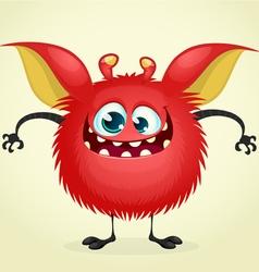 Happy Halloween cartoon red monster vector image