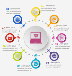 Infographic template with e-commerce icons vector