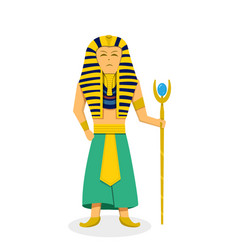 king pharaoh on white in flat style vector image vector image
