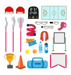 lacrosse icons set lacrosse accessories vector image vector image