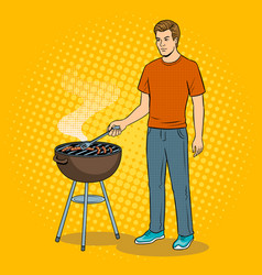 man and barbecue pop art vector image vector image