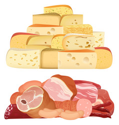 piles of different realistic delicacy cheeses and vector image vector image