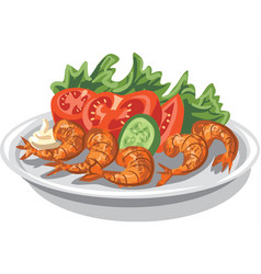 Shrimps with salad vector