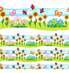 Spring elements seamless line vector