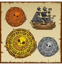 Symbolic set of pirate attributes seal and ship vector image